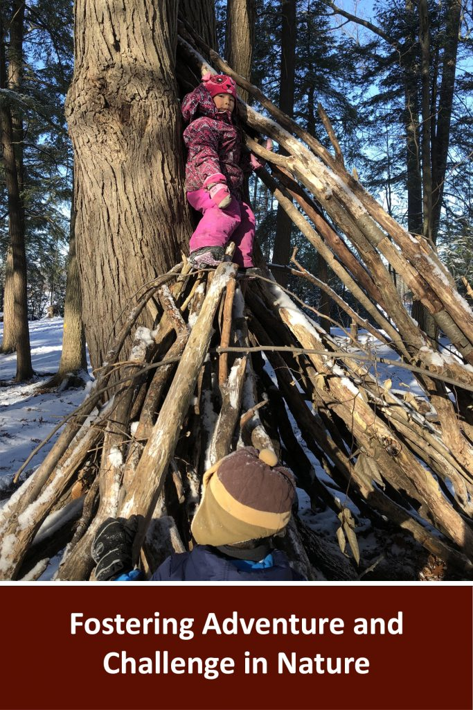 """Webinar title written in white on a brown background reads """"Fostering Adventure and Challenge in Nature"""". Above is a photo of a child standing on top of a number of branches taht have been formed into a fort"""