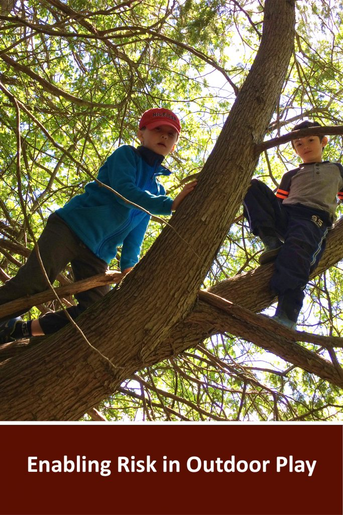 """Webinar title written in white on a brown background reads """"Enabling Risk in Outdoor Play"""". Above is a photo of two children climbing in a tree"""