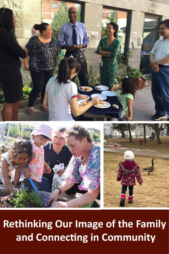 """Webinar title written in white on a brown background reads """"Rethinking Our Image of the Family and Connecting in Community"""". Above it are three photos. One photo is of educators and families gathered outdoors, some sitting others standing in conversation. Another photo is of children and family members planting plants together. The third photo is of a child walking towards Canadian Geese in a field of dried grass"""